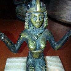 Artesanía: ANTIGUA ESCULTURA EGIPCIA DE BRONCE SOBRE MARMOL VETADO 10 CM ALTURA PESO 605 GRAMOS. Lote 106715523