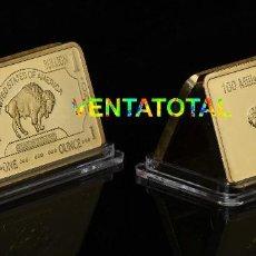 Artesanía: LINGOTE DE CASI 1 ONZA ORO DE 24 KILATES 35,35 GRAMOS ( BUFALO NORTE AMERICANO ) Nº15. Lote 128314766