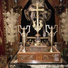 Artesanía: PRECIOSOS CAJON D MADERA TALLADO PARA REALIZAR PEANA DE SEMANA SANTA O PARA VIRGEN CRISTO NIÑO JESUS. Lote 110240399