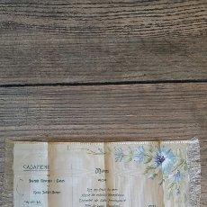 Artesanía: ANTIGUA INVITACION DE BODA 1906 SEDA Y PINTADA A MANO. Lote 111413283