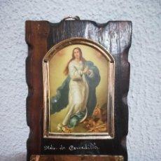 Artesanía: CUADRO MADERA INMACULADA CONCEPCIÓN DE MARIA. Lote 112430091