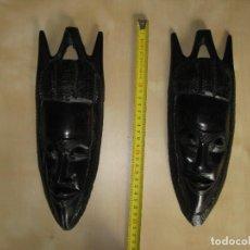 Artesanía: 2 MASCARAS AFRICANAS DE EBANO. AÑOS 60.. Lote 114080179