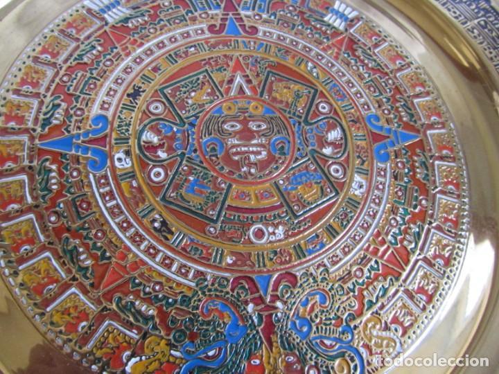 Artesanía: Pareja de platos latón + cobre lacados. Hechos a mano en México. Calendario Azteca para colgar - Foto 7 - 142889954
