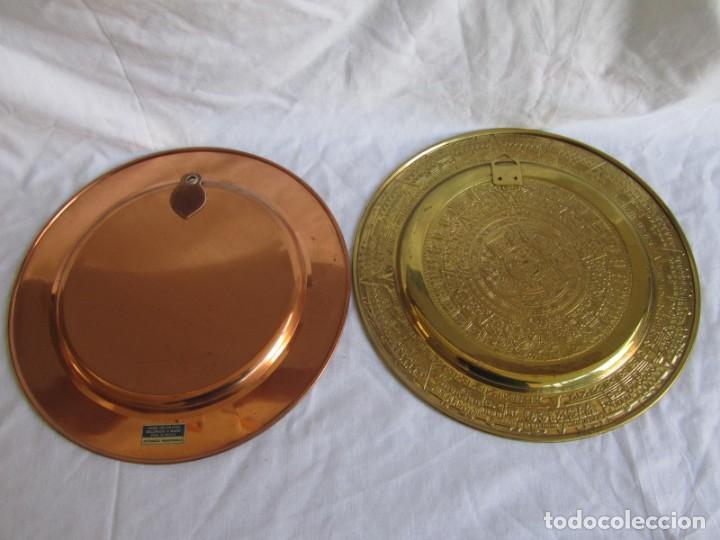Artesanía: Pareja de platos latón + cobre lacados. Hechos a mano en México. Calendario Azteca para colgar - Foto 8 - 142889954