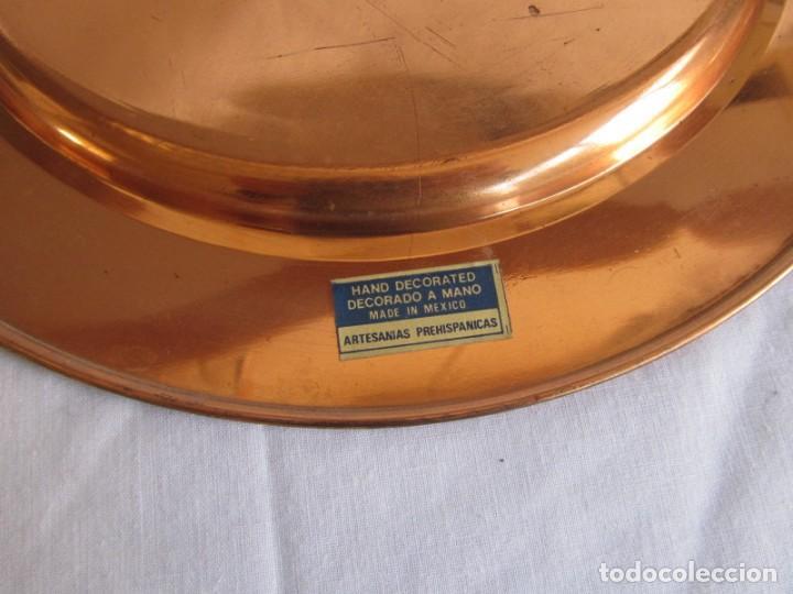 Artesanía: Pareja de platos latón + cobre lacados. Hechos a mano en México. Calendario Azteca para colgar - Foto 9 - 142889954