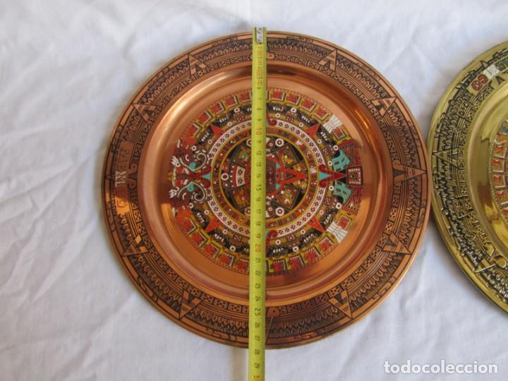 Artesanía: Pareja de platos latón + cobre lacados. Hechos a mano en México. Calendario Azteca para colgar - Foto 10 - 142889954