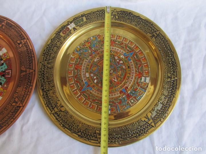 Artesanía: Pareja de platos latón + cobre lacados. Hechos a mano en México. Calendario Azteca para colgar - Foto 11 - 142889954