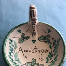 Artesanía: CUENCO HECHO Y PINTADO A MANO PARA ACEITUNAS. BOL FIRMADO POR F. BLASCO. Lote 155581944