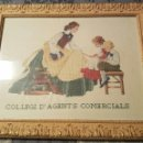 Artesanía: BORDADO ENMARCADO PUNTO DE CRUZ DE PUBLICIDAD COLEGIO DE AGENTES COMERCIALES EN CATALAN. Lote 158466930