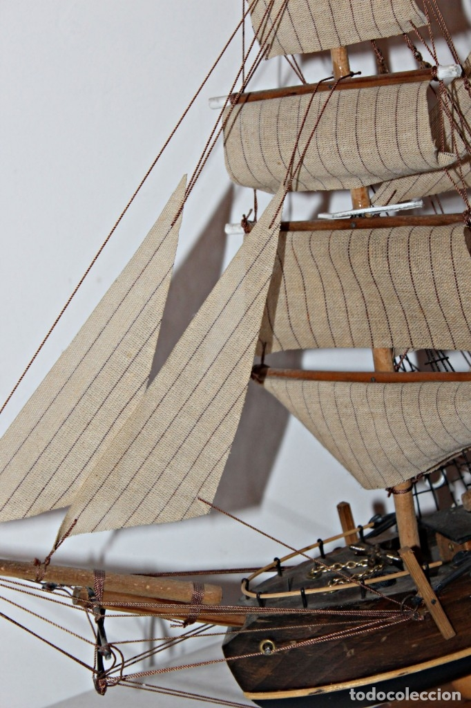 Artesanía: Barco S XIX de madera. Años 50´s. (1) - Madera de roble y partes metálicas España - Primera mitad de - Foto 13 - 177326927