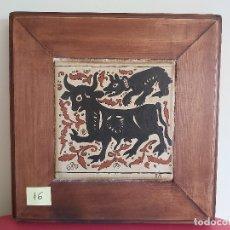 Artesanía: SOCARRAT VALENCIANO. BECERRO CON LOBO.. Lote 179119321
