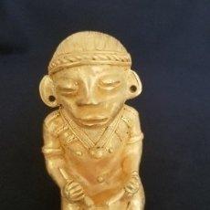 Artesanía: INDIO TAMBORERO PRECOLOMBINA QUIMBAYA DE ORO TUMBAGA PESO 83 GRAM - Nº15. Lote 180959753