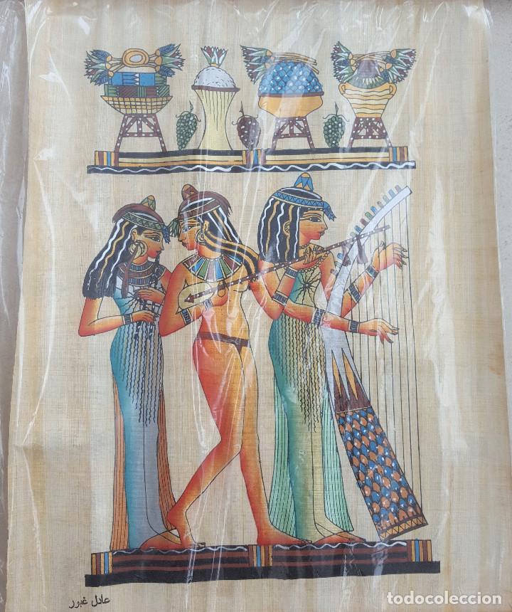 PAPIRO EGIPCIO, CON CERTIFICADO DE AUTENTICIDAD. COPIA TOMADA DE LA DECORACIÓN DE LA TUMBA DE NAKHT (Artesanía - otros articulos hechos a mano)