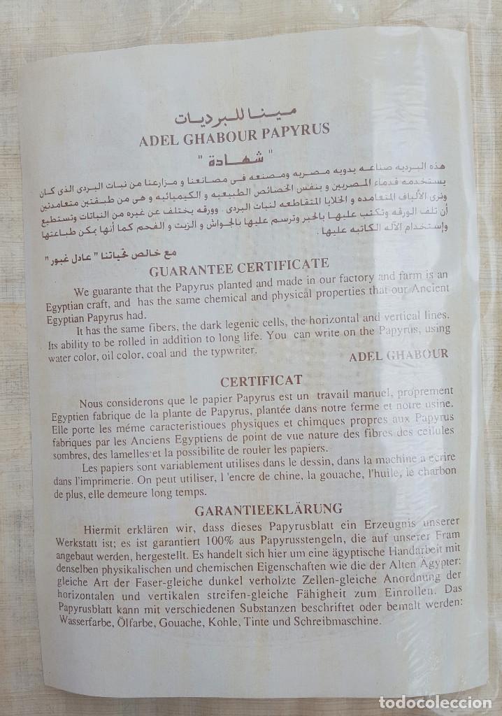 Artesanía: PAPIRO EGIPCIO, CON CERTIFICADO DE AUTENTICIDAD. COPIA TOMADA DE LA DECORACIÓN DE LA TUMBA DE NAKHT - Foto 2 - 193331892