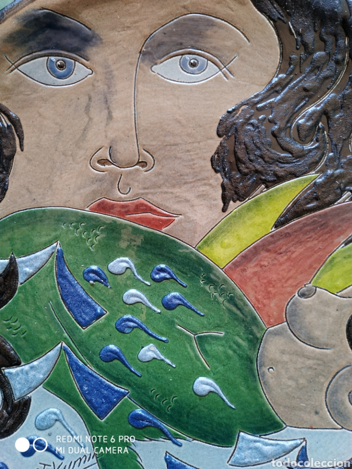 Artesanía: Plato terracota pintado a mano firmado - Foto 4 - 210388073