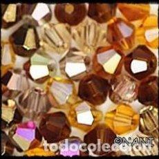 Artesanía: LOTE DE 40 CRISTALES AUSTRIACOS (TUPIS) SIMIL A SWAROVSKIS DE 4MM EN TONOS MARRONES. Lote 233151255