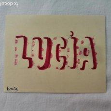Artesanía: LETTERING. TU NOMBRE PERSONALIZADO EN CARTULINA. LUCIA. HECHO A MANO. Lote 277631953