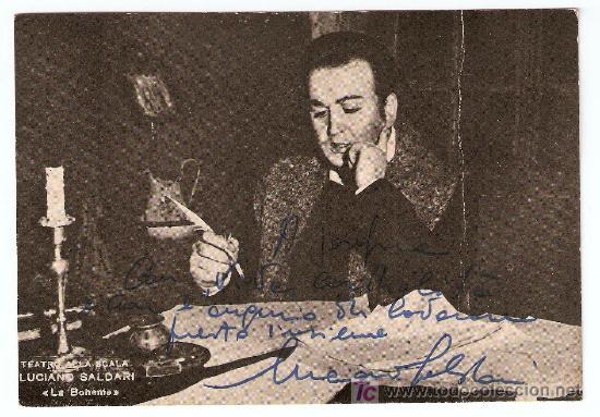 LUCIANO SALDARI-CON AUTOGRAFO-TEATRO DE LA SCALA- LA BOHEME- VELL I BEL (Música - Autógrafos de Cantantes )