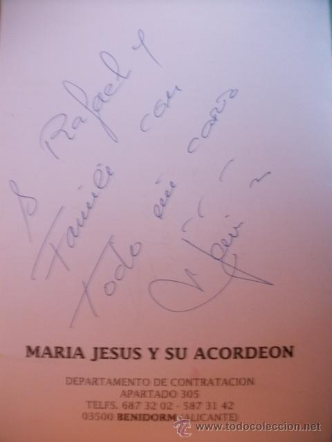 Autógrafos de Música : TARJETA DE MARIA JESUS Y SU ACORDEÓN CON DEDICATORIA Y FIRMA AUTOGRAFO - Foto 2 - 29599369