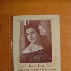 Autógrafos de Música : PROGRAMA . JUANITA REINA SALUDA AL PUBLICO DE MADRID EL DIA DE SU HOMENAJE. 1949. AUTOGRAFO ORIGINAL. Lote 30268308