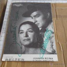 Autógrafos de Música : FOTO POSTAL ARTISTAS BELTER JUANITA REINA Y CARACOLILLO FIRMADA CON AUTOGRAFO DE LOS ARTISTAS. Lote 47060134