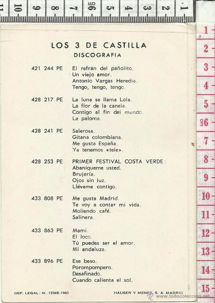 Autógrafos de Música : 11.8 TARJETA PROMOCIÓN CANTANTES LOS TRES DE CASTILLA FIMADA CON AUTOGRAFO MÚSICA MELÓDICA - Foto 2 - 54026565
