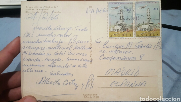 POSTAL DE ALBERTO CORTEZ (CANTANTE) DESDE ANGOLA A E.GAREA(HISPAVOX) PRODUCTOR Y DESCUBRIDOR 1966 (Música - Autógrafos de Cantantes )