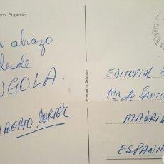 Autógrafos de Música : POSTAL DESDE ANGOLA DE ALBERTO CORTEZ ( CANTANTE) A HISPAVOX COMPAÑÍA DISCOGRÁFICA 1966. Lote 61945552