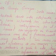 Autógrafos de Música : POSTAL DE AGRADECIMIENTO DEL CANTANTE COMPOSITOR RICARDO CERATTO A ENRIQUE GAREA (DESCUBRIDOR) 1966. Lote 61945594