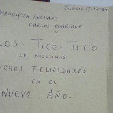 Autógrafos de Música : TARJETA NAVIDEÑA ESCRITA POR MARQUESA ANCHART, CARLOS CORRALE Y LOS TICO TICO 1964. Lote 62143840