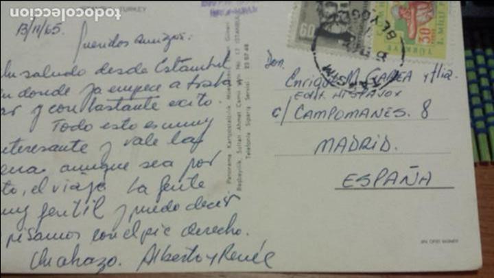 POSTAL DE ALBERTO CORTEZ (CANTANTE) ESTAMBUL A ENRIQUE GAREA HISPAVOX DESCUBRIDOR DE ARTISTAS 1965 (Música - Autógrafos de Cantantes )
