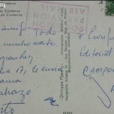 Autógrafos de Música : POSTAL DESDE LAS PALMAS DE ALBERTO CORTEZ (CANTANTE) A ENRIQUE GAREA (HISPAVOX) ARTISTAS 1965. Lote 62222056