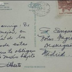Autógrafos de Música : POSTAL DE ALBERTO CORTEZ (CANTANTE) DESDE MÉXICO A ENRIQUE GAREA (TALENTOS) MUNDIAL FUTBOL1970. Lote 62222768