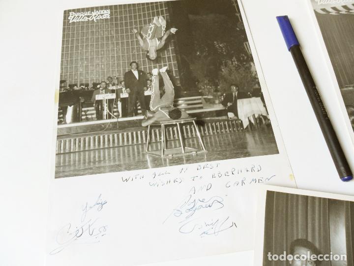 Autógrafos de Música : 3 FOTOGRAFIAS CON LA DEDICATORIA O AUTOGRAFO Y FIRMA DE TRAPECISTAS EN PARQUE JARDIN VILLA ROSA - Foto 2 - 92319420