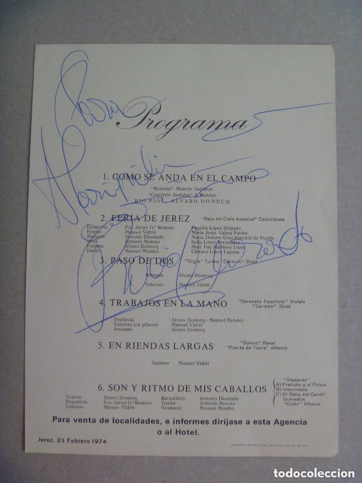 AUTOGRAFO ORIGINAL DE ROCIO JURADO . EN UN FOLLETO DE LA ESCUELA ANDALUZA DE ARTE ECUESTRE (Música - Autógrafos de Cantantes )