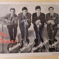 Autógrafos de Música : LOS LLAMAS. GRUPO MUSICAL, AÑOS 60. Lote 102792355