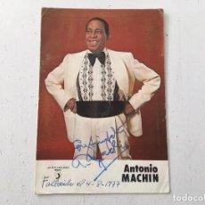 Autografi di Musica : AUTÓGRAFO DE ANTONIO MACHÍN - LA BASE ES UNA PUBLICIDAD DE SUS DISCOS DE DISCOPION. Lote 107251287