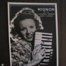 Autógrafos de Música : MIGNON - FOTOGRAFIA CON AUTOGRAFO -VER FOTOS-(V-13.174). Lote 109279743