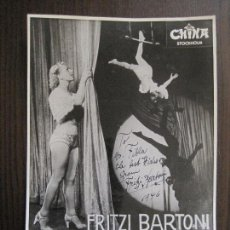 Autógrafos de Música : FOTOGRAFIA AUTOGRAFO FRITZI BARTONI -MIDE 17X 23 CM- VER FOTOS - (V-13.913). Lote 116107739