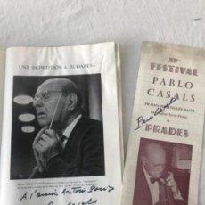 Autógrafos de Música : PROGRAMA FESTIVAL DE PRADES 1965 AUTÓGRAFOS DE PAU CASALS VER FOTOS ANEXAS.. Lote 123574003