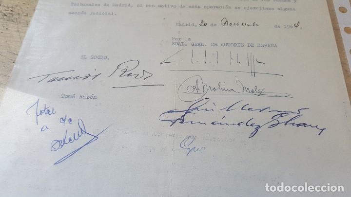 Autógrafos de Música : Documento de la sgae, firmas de tomas rios, guillermo fernandez shaw, el poeta andres molina moles - Foto 2 - 124594779