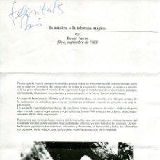 Autógrafos de Música : RAMÓN FARRÁN - LA MÚSICA, O LA TELARAÑA MAGICA (DEIA, SEPTIEMBRE 1985). Lote 137692194