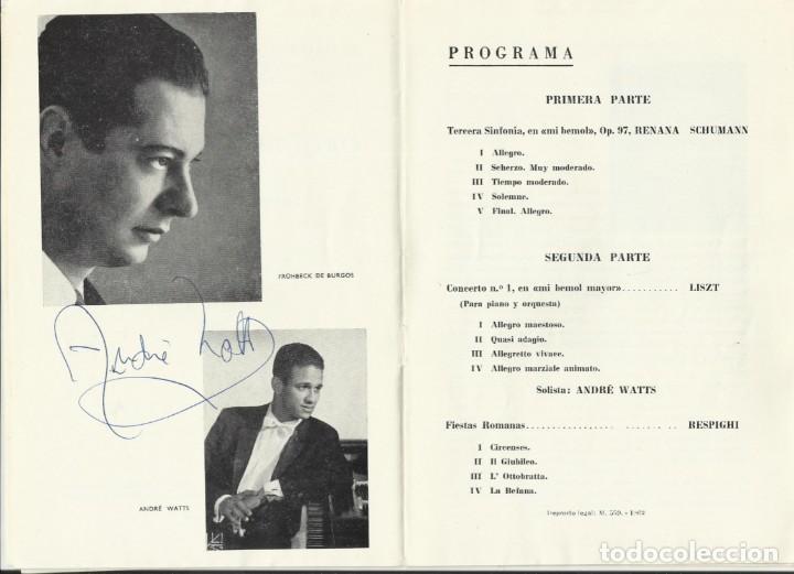 AUTÓGRAFO FIRMA DEL PIANISTA ANDRÉ WATTS. TEATRO REAL. 1968. ORQUESTA NACIONAL. MADRID. PROGRAMA. (Música - Autógrafos de Cantantes )