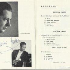 Autógrafos de Música : AUTÓGRAFO FIRMA DEL PIANISTA ANDRÉ WATTS. TEATRO REAL. 1968. ORQUESTA NACIONAL. MADRID. PROGRAMA.. Lote 139454398