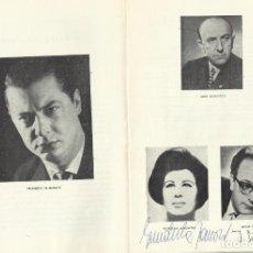 Autógrafos de Música : AUTÓGRAFOS FIRMAS SOPRANO GUNDULA JANOWITZ Y BARÍTONO JAKOB STAEMPFLI. ORQUESTA NACIONAL. 1968.. Lote 139454882