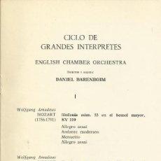 Autógrafos de Música : AUTÓGRAFO FIRMA DE DANIEL BARENBOIM. TEATRO REAL. MADRID. 1969. CICLO DE GRANDES INTERPRETES.. Lote 139458442