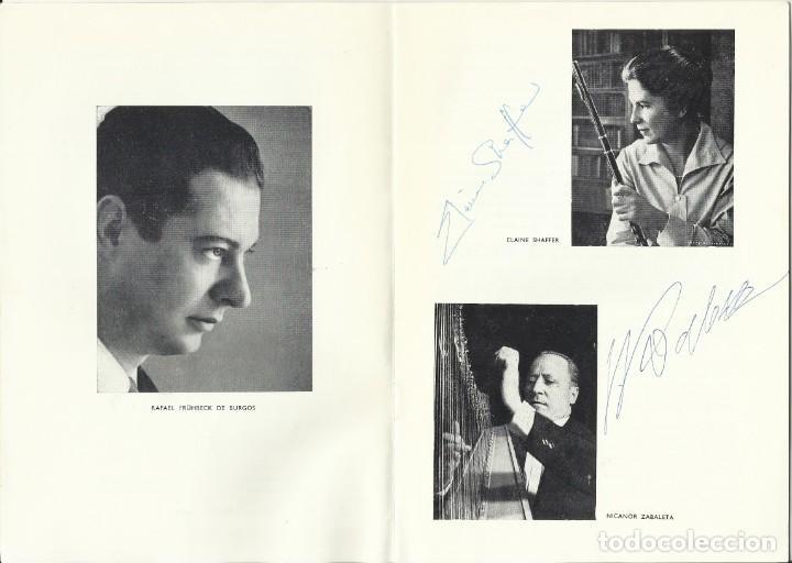 AUTÓGRAFO FIRMA FLAUTA ELAINE SHAFFER Y ARPA NICANOR ZABALETA. ORQUESTA NACIONAL TEATRO REAL 1969. (Música - Autógrafos de Cantantes )