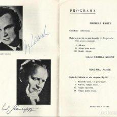 Autógrafos de Música : AUTÓGRAFO FIRMA DIRECTOR JERZY SEMKOW Y PIANISTA WILHELM KEMPFF. ORQUESTA NACIONAL TEATRO REAL 1968.. Lote 139470366