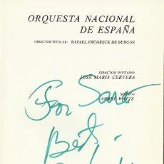 Autógrafos de Música : AUTÓGRAFO FIRMA DEDICADO ANDRÉ WATTS. SOLISTA. TEATRO REAL. ORQUESTA NACIONAL. 1974. PROGRAMA.. Lote 139609270