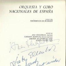 Autógrafos de Música : AUTÓGRAFO FIRMA ANA HIGUERAS SOPRANO, CARMEN SINOVAS MEZZO-SOPRANO, DIETER ELLENBECK Y SIMÓN ESTÉS.. Lote 139610050